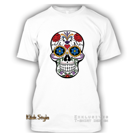 """T-Shirt """"La Catrina"""" Schädel (Weiß)"""
