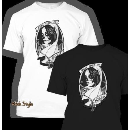 "T-Shirt ""La Catrina"" [S/W Druck] - Schwarz oder Weiß"