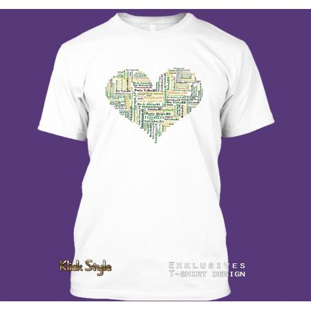 """T-Shirt Wordcloud """"Herz Hauptstädte Brasilien"""""""