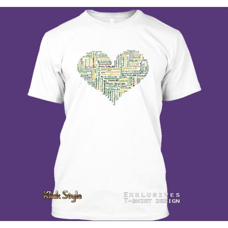 "T-Shirt Worcloud ""Herz Hauptstädte Brasilien"""