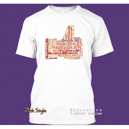 """T-Shirt Wordcloud """"like Hauptstädte Deutschland"""""""