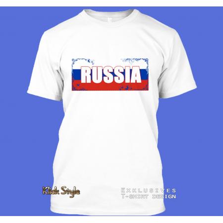"T-Shirt Wort auf Flagge ""Russia"""