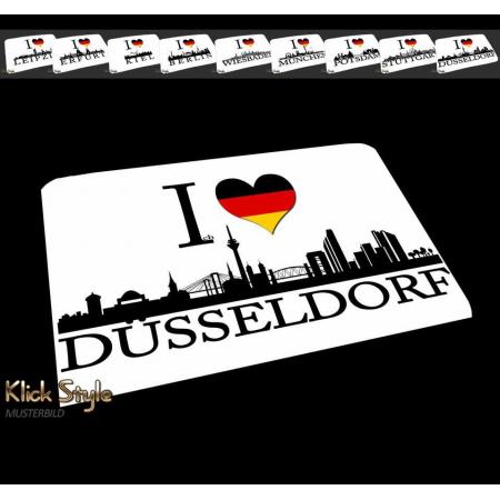 "Mousepad ""Ich Liebe (Stadt)"" [Düsseldorf, Berlin, Stuttgart, München, Leipzig, Wiesbaden, Potsdam, Kiel, Erfurt]"