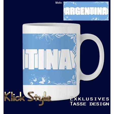 """Tasse Wort auf Flagge """"Argentina"""""""