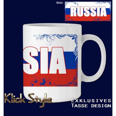 """Tasse Wort auf Flagge """"Russia"""""""